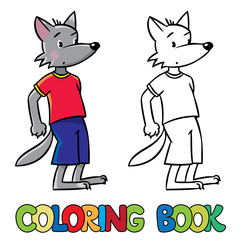 Little funny wolf. Coloring book