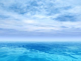 Conceptual blue sea or ocean water with sky