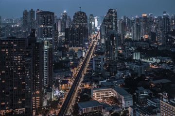 Bangkok Sukhumvit road twilight
