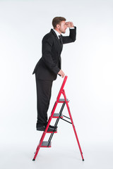 Businessman on the ladder