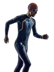 man triathlon ironman athlete swimmers running