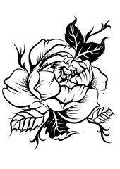 beautiful peony flower in tatto style