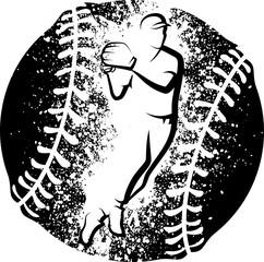Baseball Throw over a Grunge Baseball