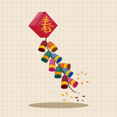 """ Wish spring comes"" Chinese firecrackers theme elements"