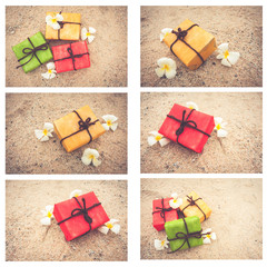 gift box from nature and flowers on sand background, vintage color tone. for Christmas and Happy new year.
