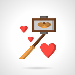 Selfie stick and hearts flat color vector icon