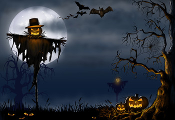 Creepy Halloween Scarecrow Scene - Digital Illustration