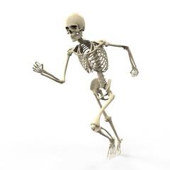 3D running skeleton isolated on white background