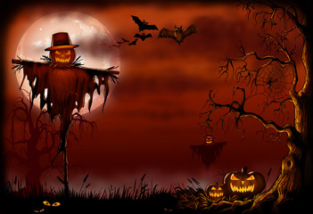 Creepy Scarecrow Halloween Scene - Digital Illustration
