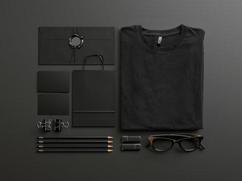 Set of black mockup elements on the blank background. 3d render