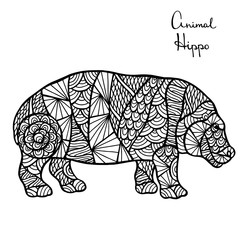 Stylized vector Hippo, zentangle isolated on white background.