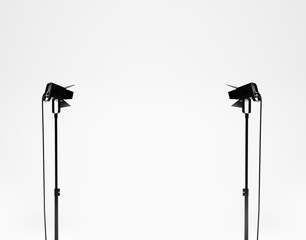 White studio with equipment. 3d render