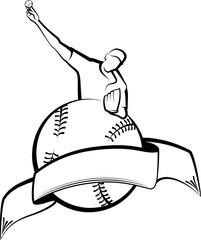 Baseball Pitcher with Ball & Banner