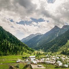 Square Panorama of Aru Valley, Jammu and Kashmir, India