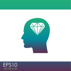 Human profile with diamond vector icon.