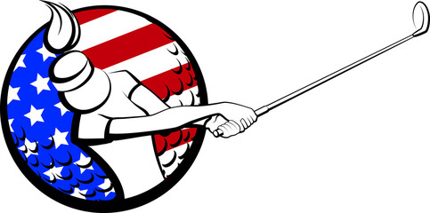 Stylized Female Golfer with USA Flag