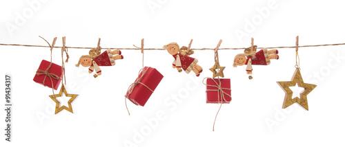 Weihnachtsdekoration In Rot Gold Mit Geschenke Engel Und Sterne