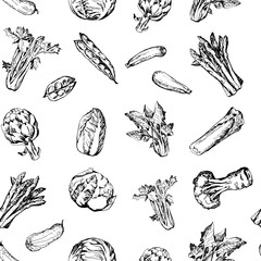 Seamless pattern with green vegetables