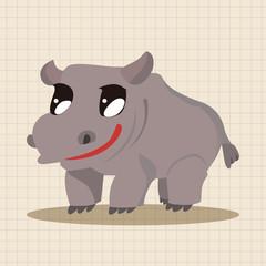animal hippo cartoon theme elements