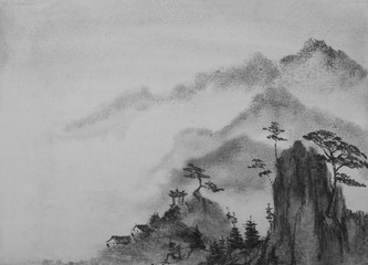 Chinese painting mountains and clouds