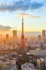 Foto auf Acrylglas Tokio Tokyo city skyline at sunset in Tokyo