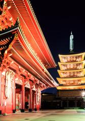 Sensoji-ji Red Japanese Temple in Asakusa, Tokyo