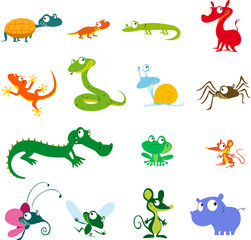 simple vector animals cartoon - amphibians, reptiles and other creatures