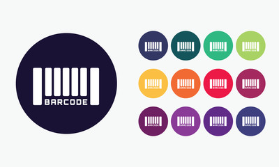 Barcode icon sign. Colorful vector set 3.