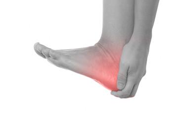 Hacken Schmerzen - Schwarzweiß mit roter markierung