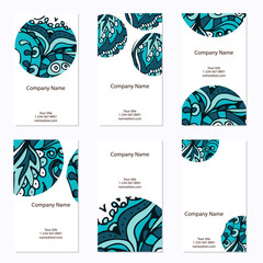 Set of six business cards. Corporate identity vector template wi