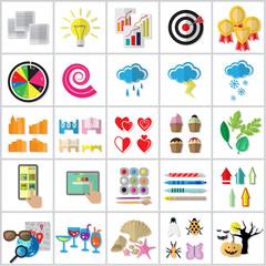 Flat Icons Set: Vector Illustration, Graphic Design