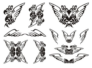 Parrot wings symbols.Black on the white