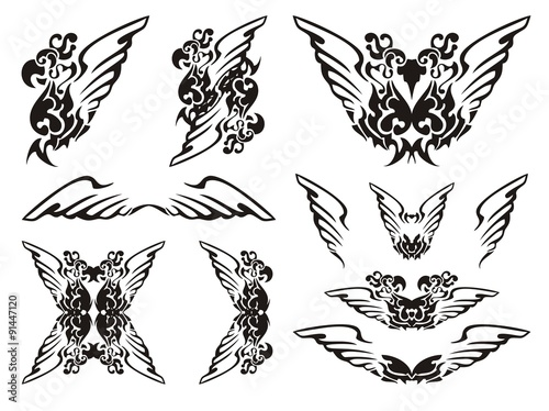 Parrot wings symbols Black on the white