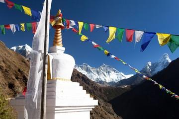 White stupa and prayer flags near Namche Bazar