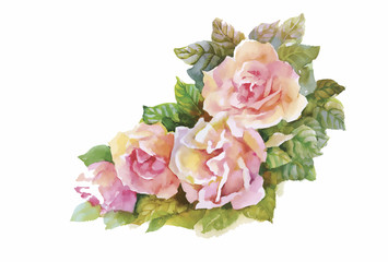 Watercolor flowers in classical style on a white background