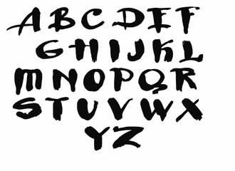 Watercolor hand drawn alphabet. Vector illustration. Brush