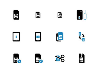 Mobile communications cards duotone icons on white background.