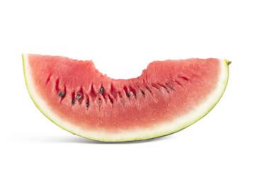 Bitten slice of watermelon on white background