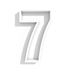 white isolated number 7 seven in white background with shadow