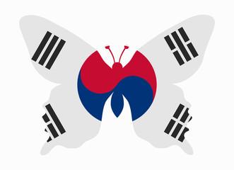 south korea flag butterfly