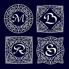 Ornate frames for monograms, logos or other symbols in arabesque style. The letters are replaceable.