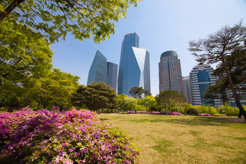 Park near office buildings in Seoul
