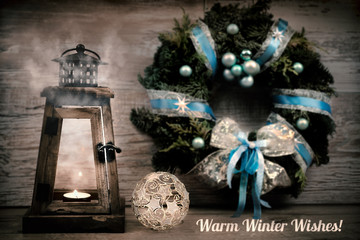"Winter greeting card with caption""Warm Winter Wishes!"""