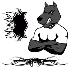 angry dog muscle cartoon set in vector fromat