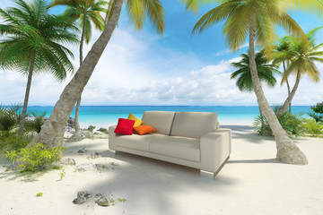 Sofa on the beach