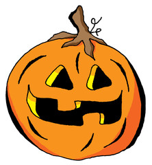 Humorous Illustration of a Happy Halloween Pumpkin