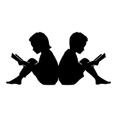 Little Kid and Girl Read a Book Vector Silhouette