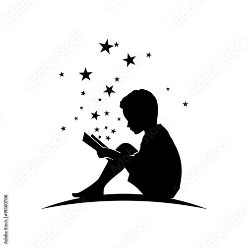 """Kid Read Book with Star Silhouette Illustration"" Stock ..."
