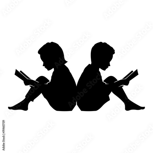 Quot Little Kid And Girl Read A Book Vector Silhouette Quot Stock