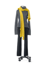full-length female dress on with yellow scarf mannequin on white background